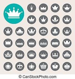 基本, セット, 王冠, アイコン