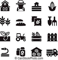 基本, セット, 農業, 農業, アイコン