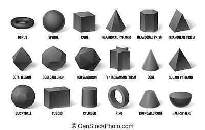 基本, プリズム, 立方体, イラスト, 見通し, 影, モデル, shapes., ベクトル, 球, 概念, 幾何学, 3d, 形, 現実的, セット