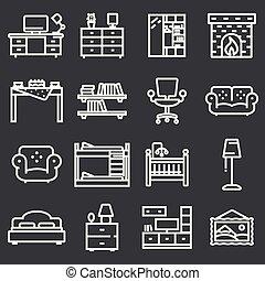 基本, 家具, アイコン, セット, 中に, 薄いライン, スタイル