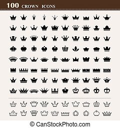 基本, 100, セット, 王冠, アイコン