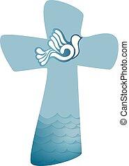 基督教徒, 產生雜種, baptism., 圣靈, 符號, 由于, 鴿, 以及, 波浪, ......的, 水