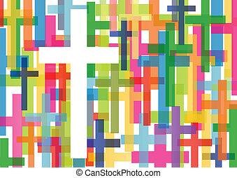 基督教, 宗教, 產生雜種, 馬賽克, 概念, 摘要, 背景, 矢量, 插圖, 為, 海報