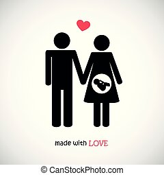 基礎, 作られた, 愛, 家族, pictogram