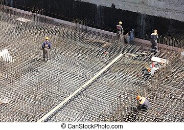 基礎, 労働者, 作りなさい, 補強, コンクリート