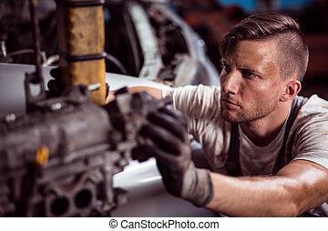 堅い働き, 機械工
