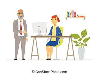 堅い, 人々, 現代, -, イラスト, 上司, 特徴, 漫画の話