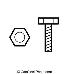堅果, 矢量, 螺栓,  outline