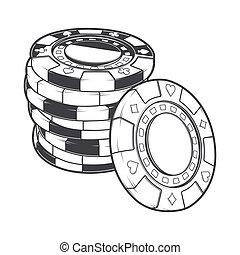 堆, 在中, 赌博芯片