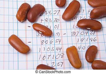堆, 會計, 計數器, 書, 數字, 豆, 分類帳