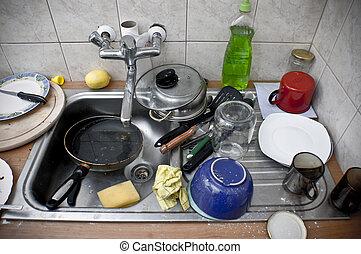 堆, ......的, 臟的盤, 在, the, 金屬, 洗滌槽
