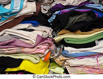 堆, ......的, 鮮艷, 衣服