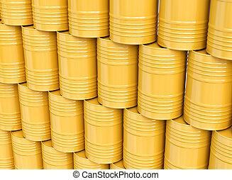 堆, ......的, 黃色, 油, 桶