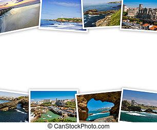 堆, ......的, biarritz, 旅行, 相片, 由于, a, 白色 背景
