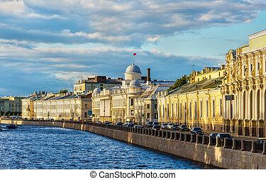 堤防, -, ロシア, petersburg, 聖者, voskresenskaya