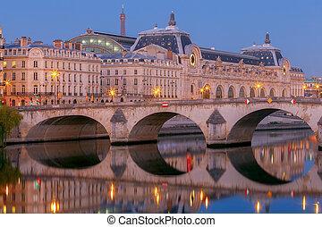 堤防, paris., 都市, 前方へ, seine.