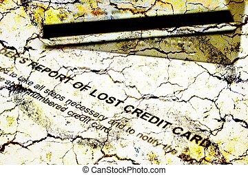 報告, 信用, 丟失, 卡片