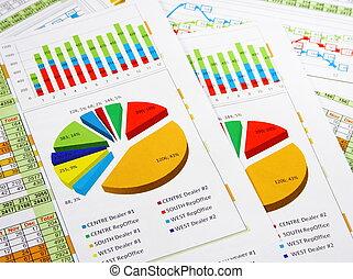 報告, 圖表, 圖表, 鮮艷