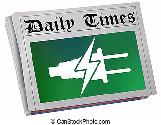 報紙, 力量, 電, 大, 能量, 插圖, 收費, 報告, 前面, 新聞, 頁, 3d