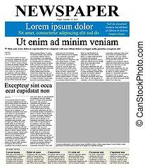 報紙, 首頁