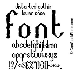 場合, より低い, アルファベット, シンボル, gothic, ゆがめられた, 黒, 手書き