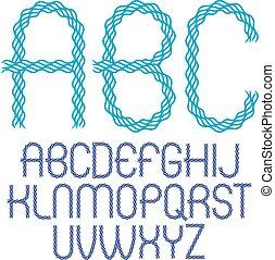 場合, より低い, 作られた, 円形にされる, アルファベット, 抽象的, コレクション, 波, lines., ベクトル, リズム, 流れること, 手紙