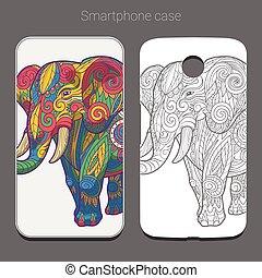 場合, カラフルである, 象, smartphone, ベクトル, デザイン