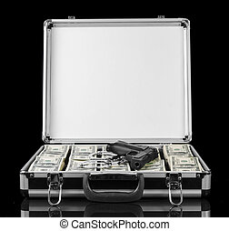 場合, ドル, 隔離された, 黒い銃