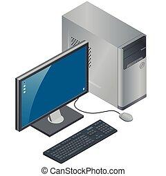 場合, マウス, モニター, コンピュータ, illustration., 平ら, 等大, 隔離された, 背景, ベクトル, pc, キーボード, 白, 技術, 3d