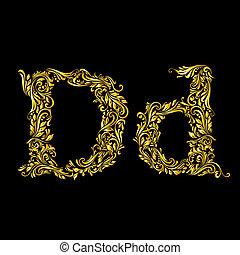 場合, 上部, より低い, 手紙, 'd', 飾られる