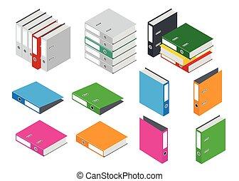 場合, 平ら, 等大, オフィス, folder., 隔離された, イラスト, 構成, バックグラウンド。, つなぎ, ベクトル, フォルダー, ファイル, ブランク, 白, file., 3d