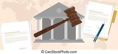 場合, 最高裁判所, 木製である, シンボル, constitutional, 法的, 犯罪, オークション, 評決, 小槌, 法律, ハンマー