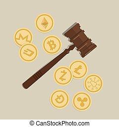 場合, 正義, コイン, 木製である, crypto, 法的, 通貨, 規則, 評決, 権威, 面, スーツ, 小槌, ビット, 法律, ハンマー