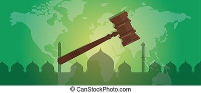 場合, 法廷, sharia, シンボル, 法的, 犯罪, 正義, 評決, 小槌, 木製である, 法律, ハンマー, オークション, イスラム教