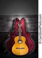 場合, 石, 照らされた, クラシック, 革, ギター, 壁, 音楽, 前部