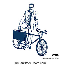 場合, 自転車, 彼の, ビジネスマン