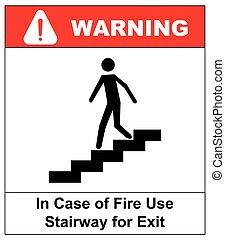 場合, 階段, 使用, 火, 印。, ベクトル, 出口, シンボル