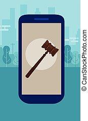 場合, 電話, 正義, アドバイス, オンラインで, 法的, モビール, 相談, 評決, 権威, スーツ, 小槌, 木製である, 法律, ハンマー, 痛みなさい