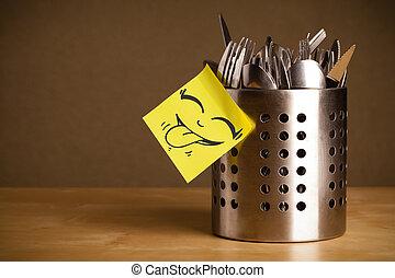 場合, smiley, cutlery, 顔, メモ, ポストそれ, sticked