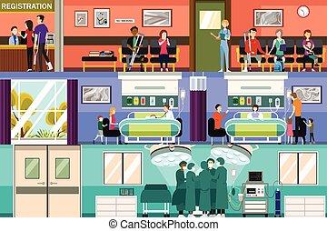 場景, 在, the, 醫院, 急診室, 以及, 外科, 房間