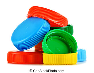 塑料瓶子, 帽子, 被隔离, 在懷特上