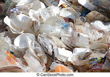 塑料, 同时,, 泡沫, 垃圾, 污染, 在中, 环境