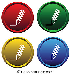 塑料, 按鈕, 由于, a, 鉛筆