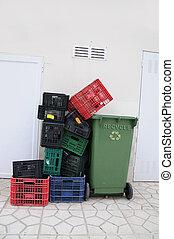 塑料, 柳條箱, 再循環, 垃圾