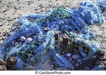 塑料, 污染, -, 蓝色, 处于混乱状态, 鱼网, 洗手, 在海滩上