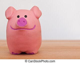 塑料, 豬, 由于, a, 大的微笑