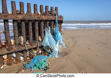 塑料, pollution., 环境, 海滩, 浪费, 洗手, 从, the, 海