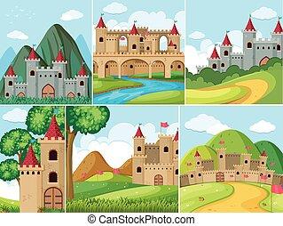 塔, 山, 城堡, 場景