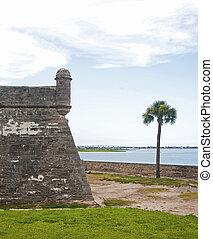 塔, 牆壁, 以及, 領域, 老, 堡壘