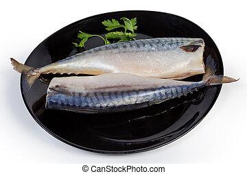塩を振られた, 皿, gutted, 2, 大西洋サバ, 黒